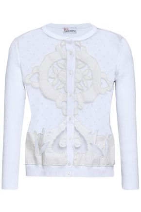 REDValentino Bianco embellished point d'esprit-paneled cotton cardigan