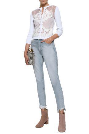 REDValentino Bianco embellished point d'esprit-paneled cotton cardigan