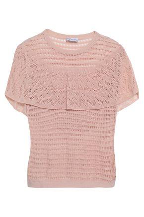 REDValentino Cape-effect crochet-knit cotton top