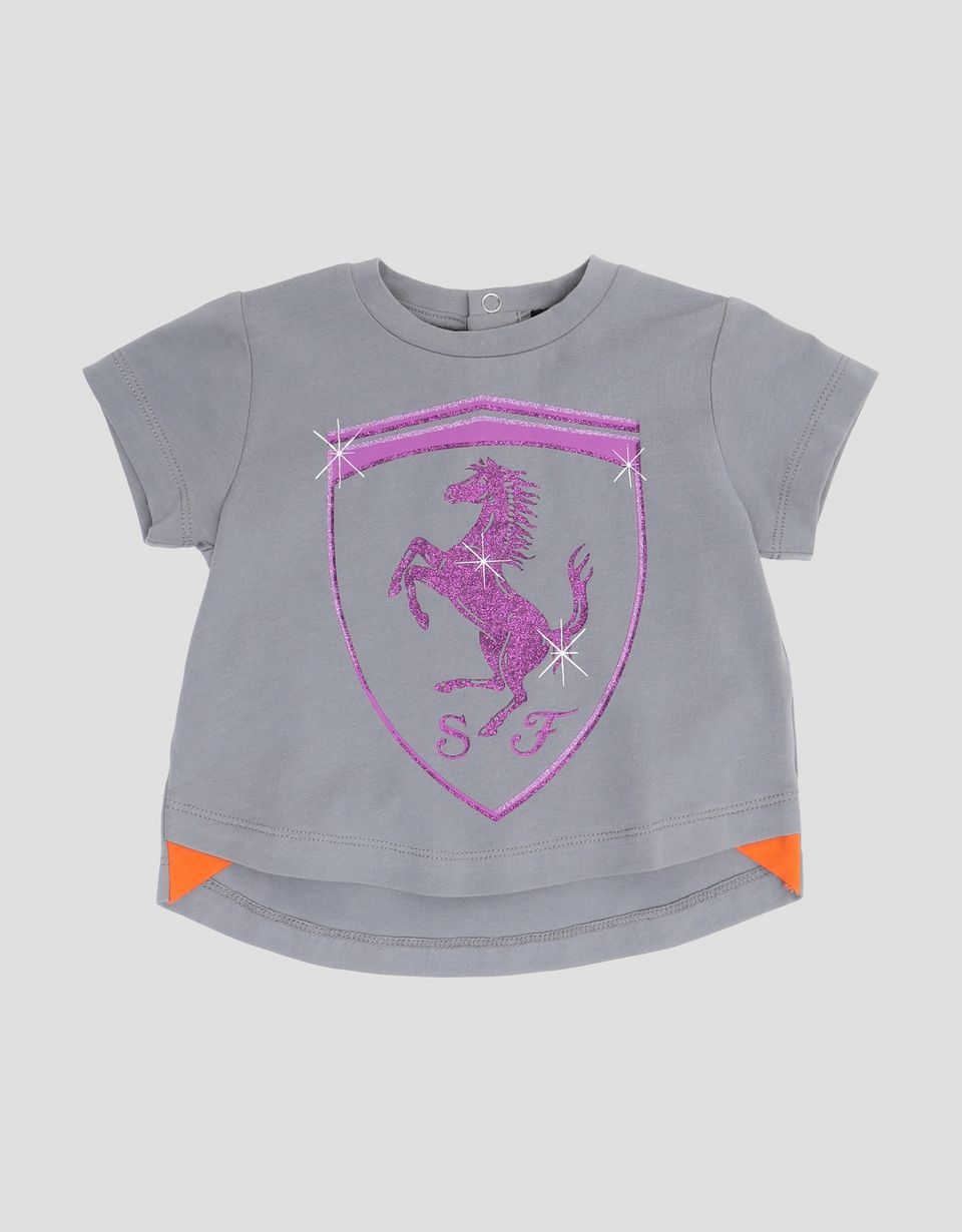 Scuderia Ferrari Online Store - Infant's T-shirt with glitter Ferrari Shield - Short Sleeve T-Shirts
