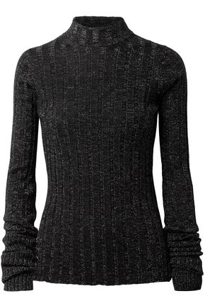 THEORY Metallic ribbed merino wool-blend turtleneck sweater
