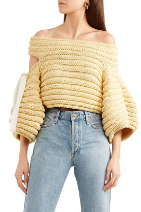 HELLESSY Off-the-shoulder cutout ribbed cotton sweater