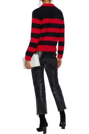 GANNI Striped wool and mohair-blend sweater