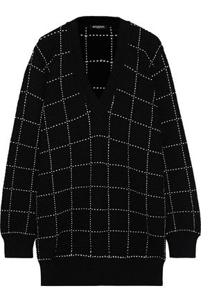 BALMAIN Checked knitted sweater