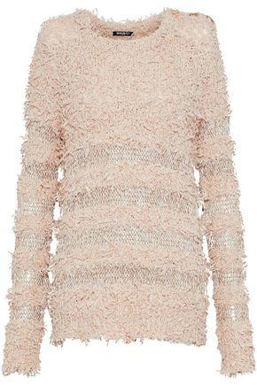 BALMAIN Button-embellished fringed open-knit sweater