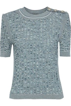 BALMAIN Button-detailed metallic crochet-knit sweater
