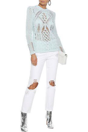 BALMAIN Open-knit cotton sweater