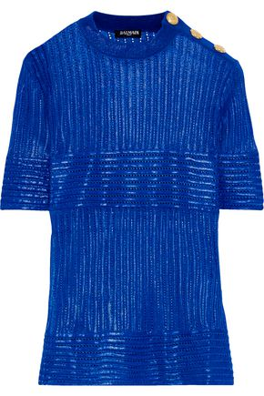 Button Detailed Coated Pointelle Knit Top by Balmain