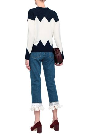 TORY BURCH Intarsia-knit wool-blend sweater