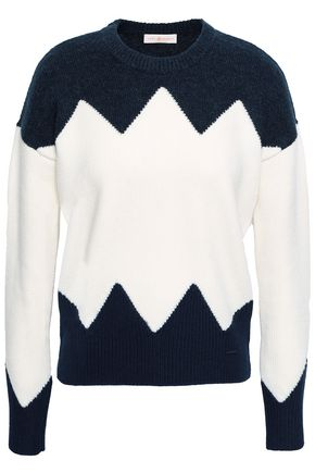 TORY BURCH Intarsia-knit wool-blend sweater
