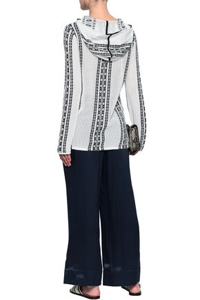TORY BURCH Embellished cotton and linen-blend jacquard hooded tunic