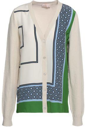 TORY BURCH Bouclé-paneled printed silk cardigan