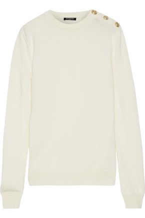 BALMAIN Button-detailed wool and cashmere-blend sweater
