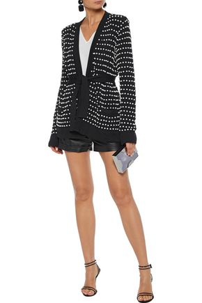 BALMAIN Tie-front faux pearl-embellished cable-knit cardigan