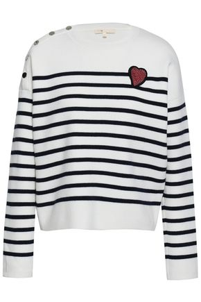 MAJE Appliquéd intarsia-knit sweater