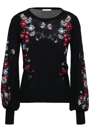 MAJE Embroidered floral-design wool sweater
