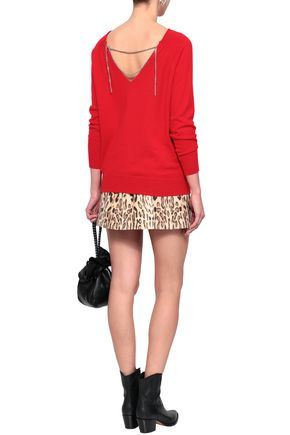 MAJE Chain-embellished cotton-blend sweater