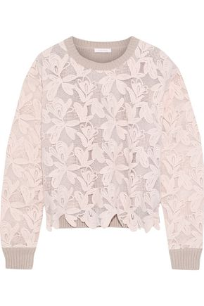 SEE BY CHLOÉ Guipure lace and ribbed cotton sweater