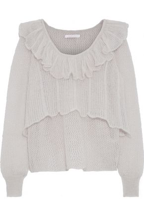SEE BY CHLOÉ Layered crochet-knit mohair-blend sweater