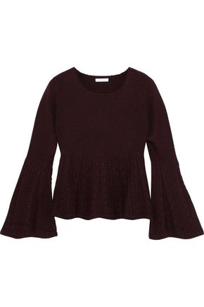 SEE BY CHLOÉ Paneled ribbed and cable-knit wool sweater
