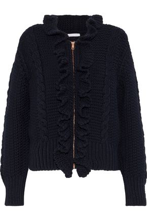 SEE BY CHLOÉ Ruffle-trimmed cable-knit wool cardigan
