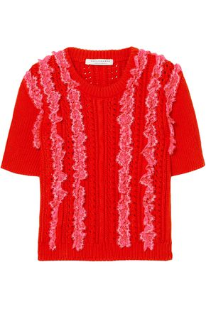 PHILOSOPHY di LORENZO SERAFINI Lace-trimmed pointelle-knit cotton top