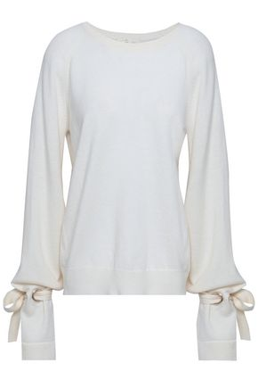 MAJE Mory bow-detailed wool and cashmere-blend sweater