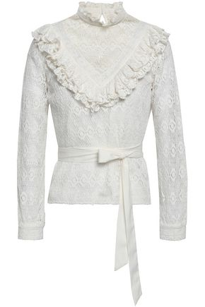 MAJE Limba ruffle-trimmed crocheted cotton-blend blouse