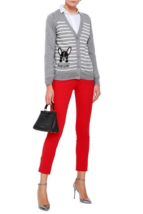 KATE SPADE New York Broome Street embroidered striped wool-blend cardigan