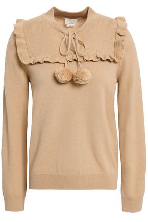 KATE SPADE New York Ruffled pompom-embellished wool and cashmere-blend sweater