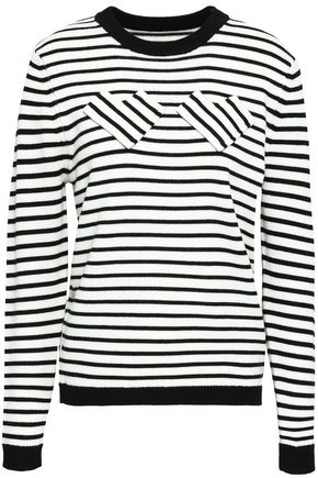 SHRIMPS Nessa appliquéd striped wool sweater