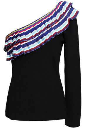 SACHIN & BABI One-shoulder pleated grosgrain-trimmed knitted top