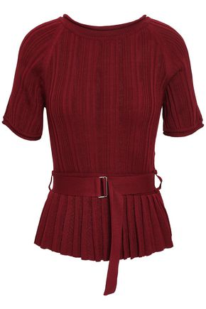 3.1 PHILLIP LIM Ribbed silk and cotton-blend peplum top