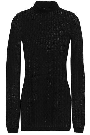 DOLCE & GABBANA Pointelle-knit silk turtleneck top