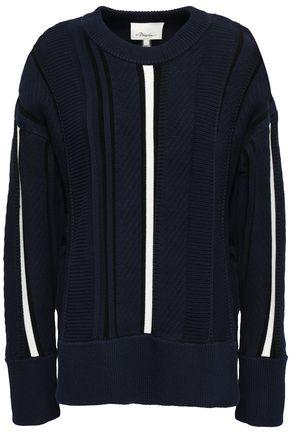 3.1 PHILLIP LIM Lace-up jacquard-knit cotton-blend sweater