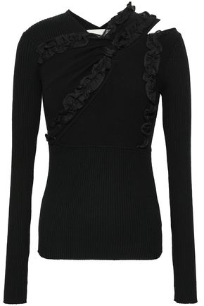 3.1 PHILLIP LIM Ruffle-trimmed cutout stretch-knit top