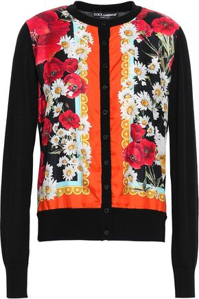 DOLCE & GABBANA Printed-paneled silk and cashmere-blend cardigan