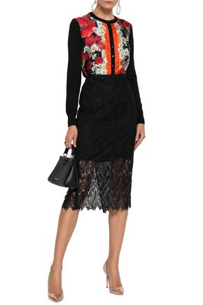 DOLCE & GABBANA Printed-paneled silk and cashmere-blend cardigan