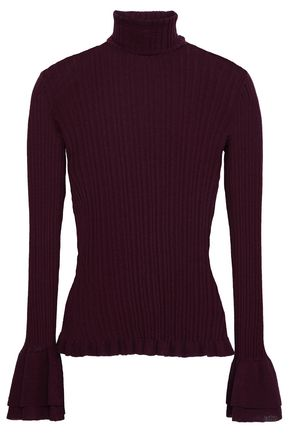 CINQ À SEPT Ribbed cotton-blend turtleneck sweater