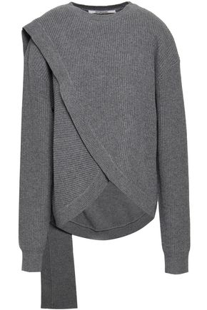 CHALAYAN Draped ribbed wool and cashmere-blend sweater