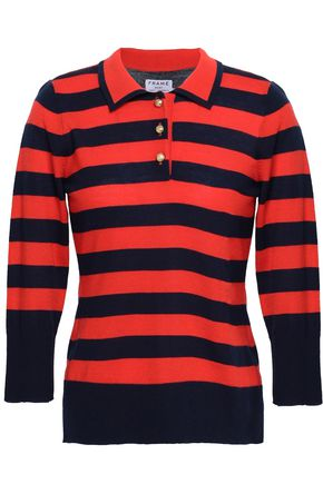 FRAME Striped wool and cashmere-blend polo shirt