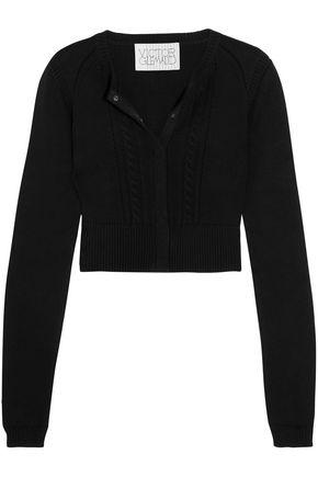 VICTOR GLEMAUD Cutout cable-knit cotton and cashmere-blend cardigan