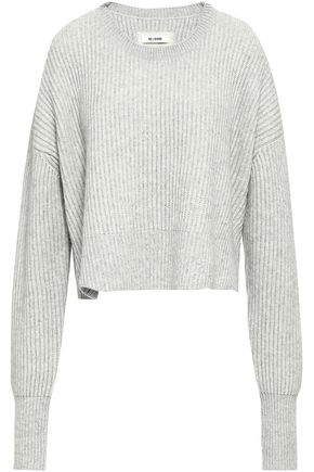 RE/DONE Cropped ribbed wool and cashmere-blend sweater