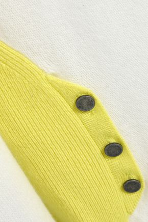DUFFY Button-detailed two-tone cashmere sweater