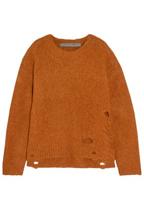 RAQUEL ALLEGRA Distressed wool-blend sweater