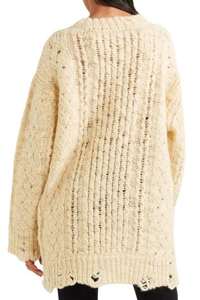 R13 Distressed cable-knit wool sweater