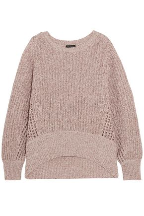 RAG & BONE Athena open knit-trimmed marled cashmere-blend sweater