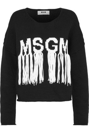 MSGM Fringed intarsia cotton-blend sweater