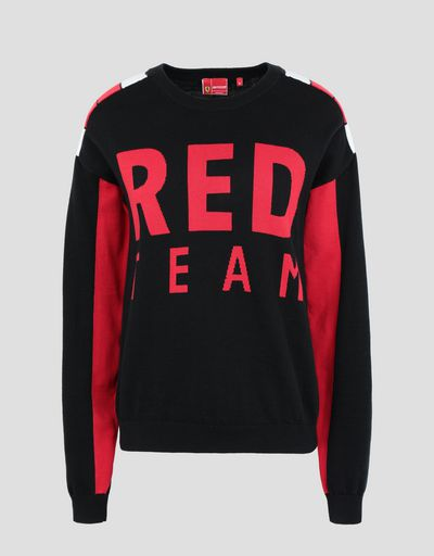 Scuderia Ferrari Online Store - Women's cotton tricot RED TEAM sweater - Crew Neck Sweaters
