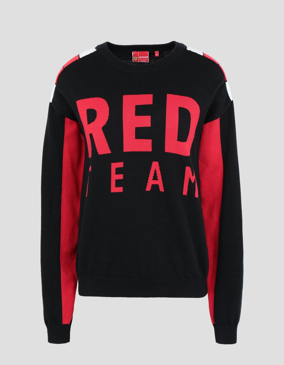 Scuderia Ferrari Online Store - Women's RED TEAM tricot knit sweater - Crew Neck Jumpers